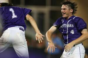 Ridge Point pitcher #4 Hayde Key celebrates with teammate #1 Preston Steszewski and players after defeating Kingwood in the baseball regional final Game 2 Friday, May 31, 2019, in Houston.