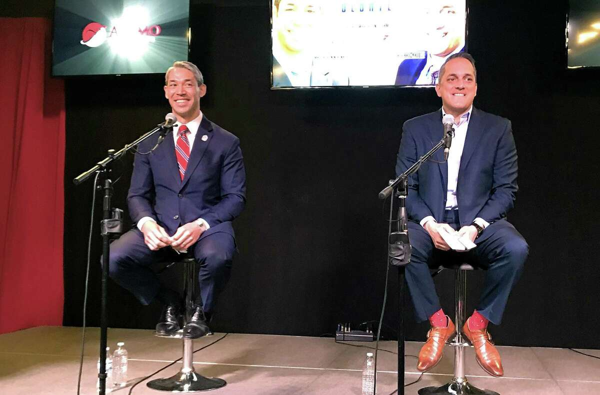 Mayor Ron Nirenberg and Councilman Greg Brockhouse faced off in their first debate at the KTSA radio studios in March. The two are in a hotly contested runoff; election day is Saturday.
