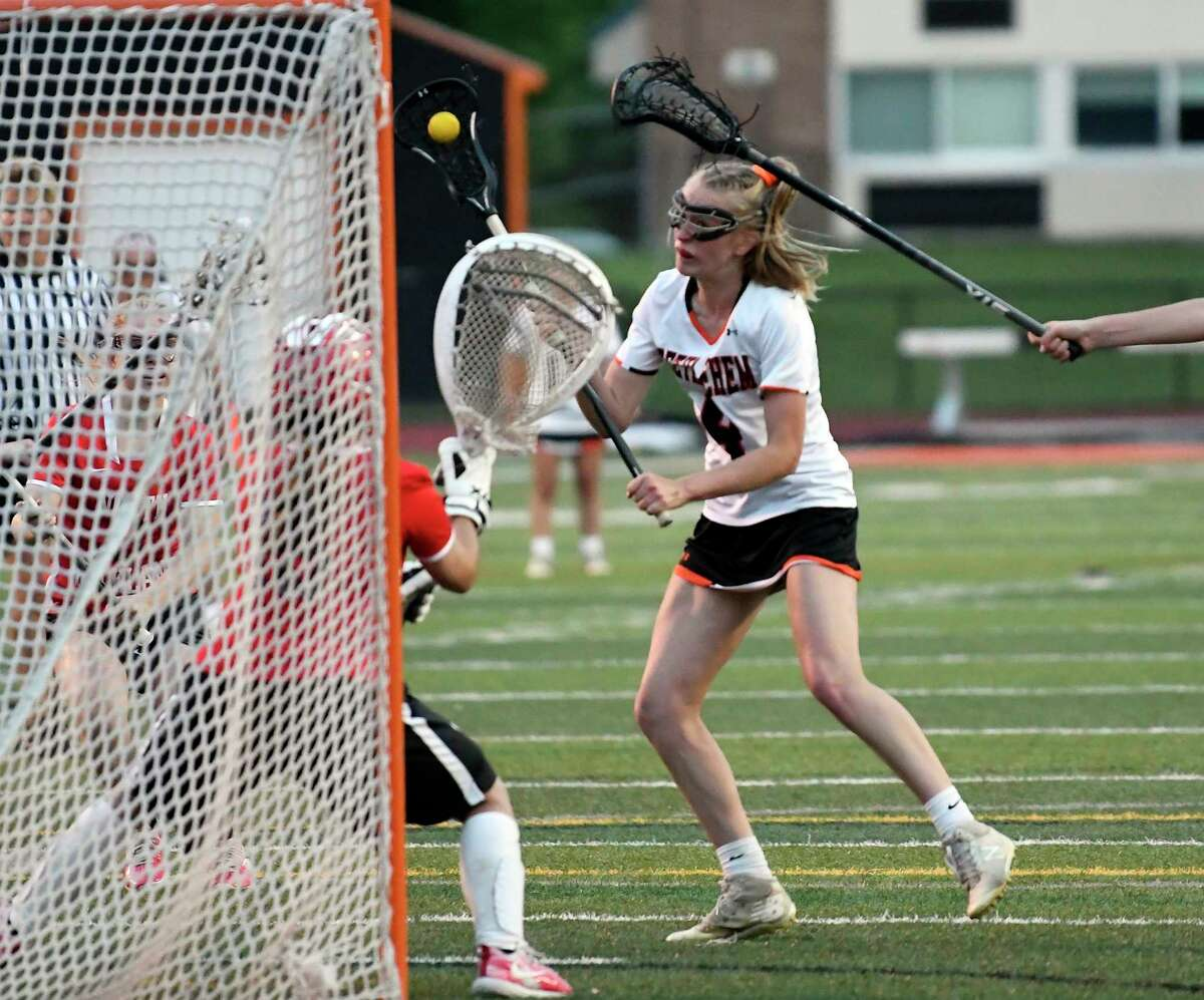Bethlehem's Avery Jones (8) scores against North Rockwell during a Class A girls' lacrosse state quarterfinal game Friday, May 31, 2019, in Rotterdam, N.Y. Bethlehem won 15-9. (Hans Pennink / Special to the Times Union)
