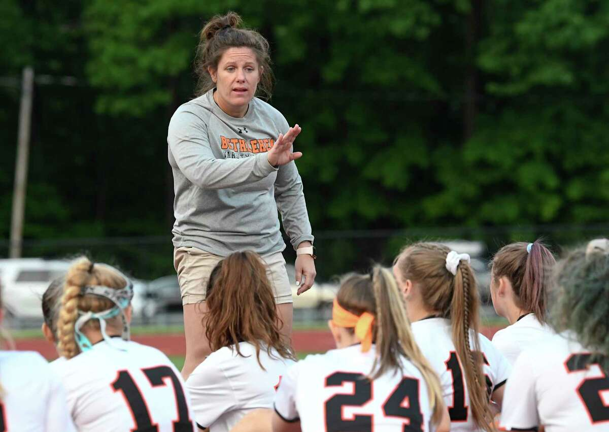 Bethlehem head coach Dani Blanchard instructs her players against North Rockwell during a Class A girls' lacrosse state quarterfinal game Friday, May 31, 2019, in Rotterdam, N.Y. Bethlehem won 15-9. (Hans Pennink / Special to the Times Union)