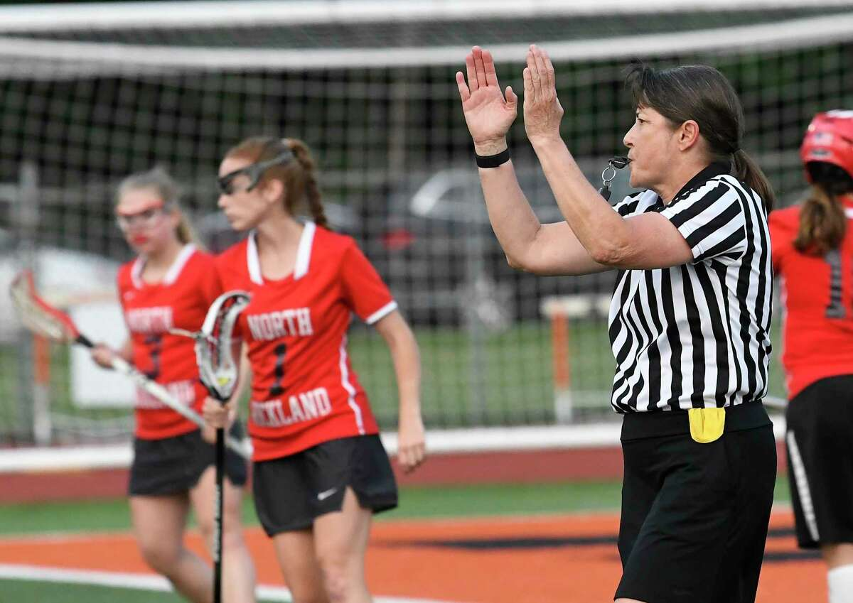Lacrosse official Mara Wager officiating during a Class A girls' lacrosse state quarterfinal game between Bethlehem and North Rockwell Friday, May 31, 2019, in Rotterdam, N.Y. Bethlehem won 15-9. (Hans Pennink / Special to the Times Union)