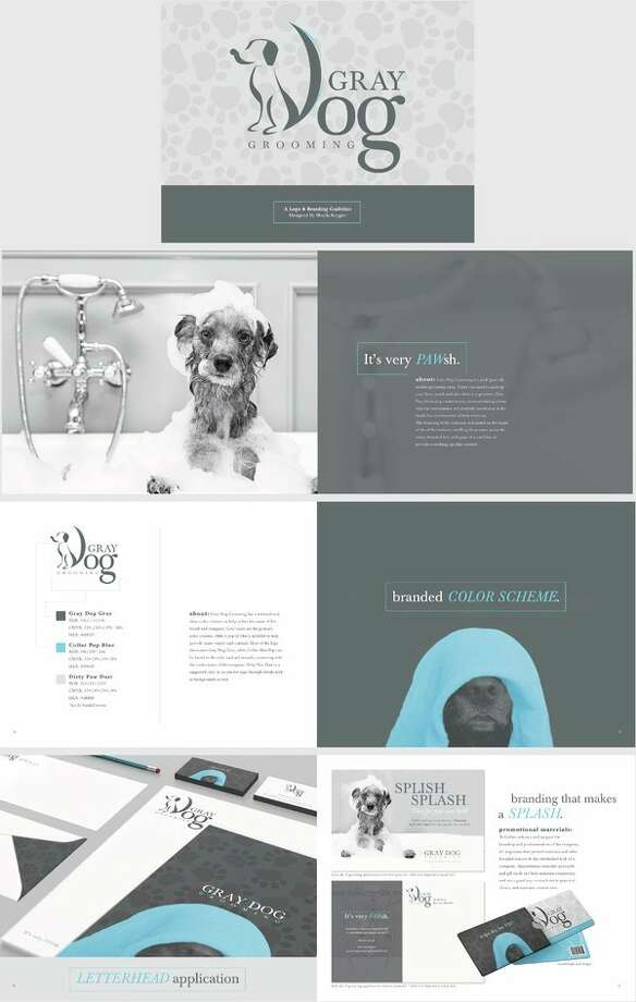 Designs created by Shayla Krygier for a fictional business named Gray Dog Grooming. (Image provided)
