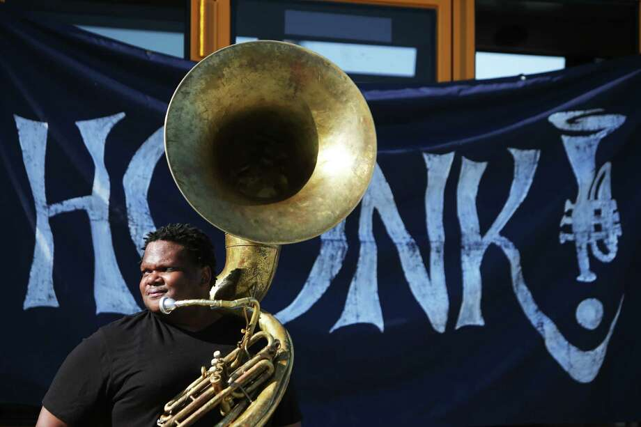 Jerome Smith plays with One Love on day one of the 12th annual HONK! Fest West in South Park, Friday, May 31, 2019. The free street band and drum corps festival will continue through Sunday--Saturday  in White Center and Sunday in Columbia City. Photo: Genna Martin, SEATTLEPI / GENNA MARTIN