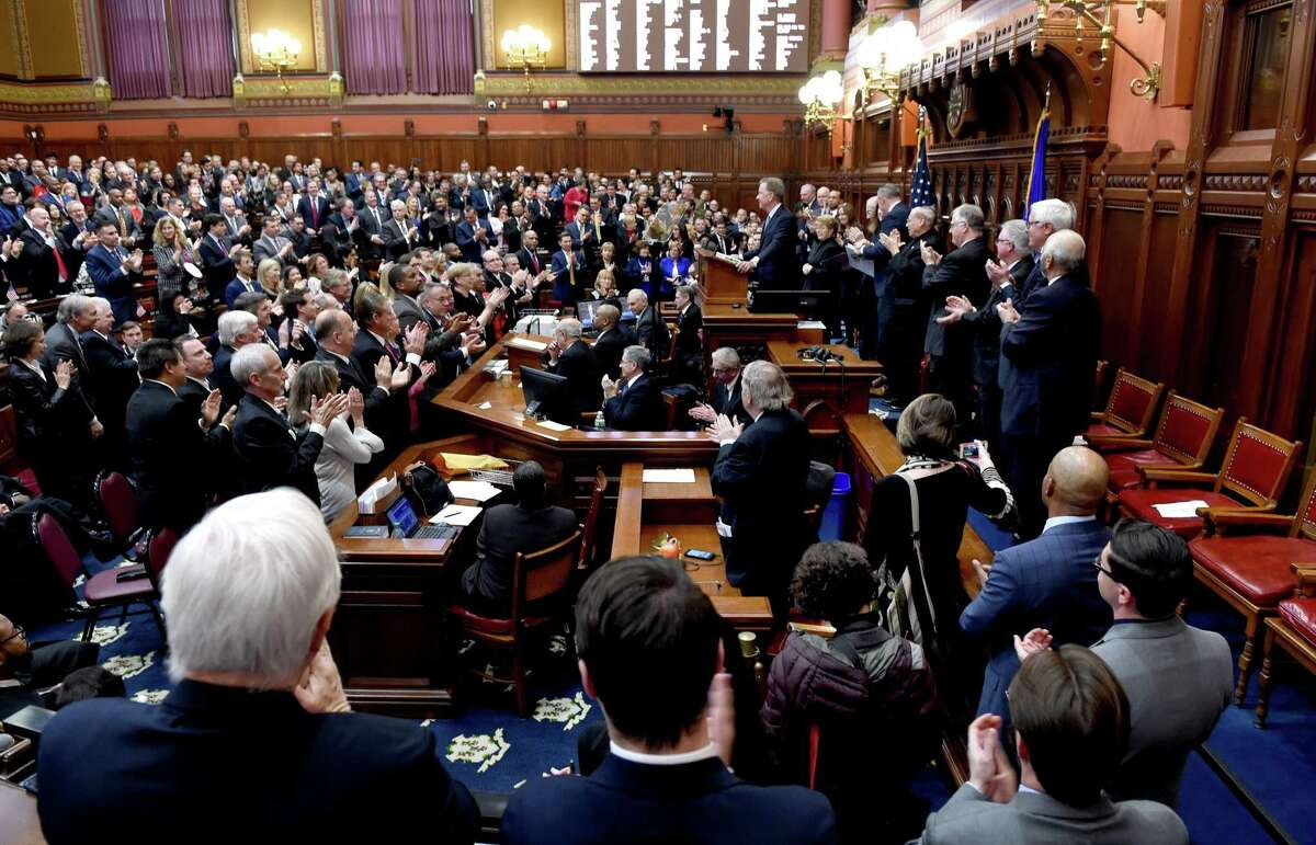 Gov. Ned Lamont delivers the State of the State address to a joint session of the Connecticut General Assembly in Hartford on Jan. 9.