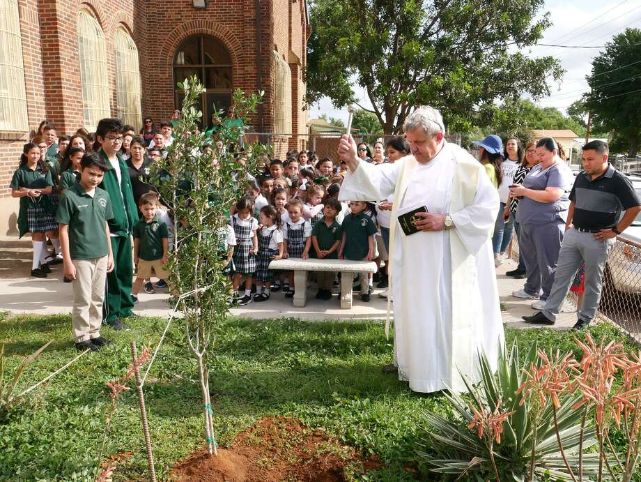 The student body, teachers and parents watch as Our Lady of Guadalupe Catholic Church Rev. Leszek J. Waclawik blesses a tree that was planted in memory of the school Friday. Due to diminishing enrollment and increasing debt, the Diocese of Laredo announced that Our Lady Of Guadalupe and St. Peter's Memorial schools will be consolidated into one. Photo: Cuate Santos / Laredo Morning Times / Laredo Morning Times