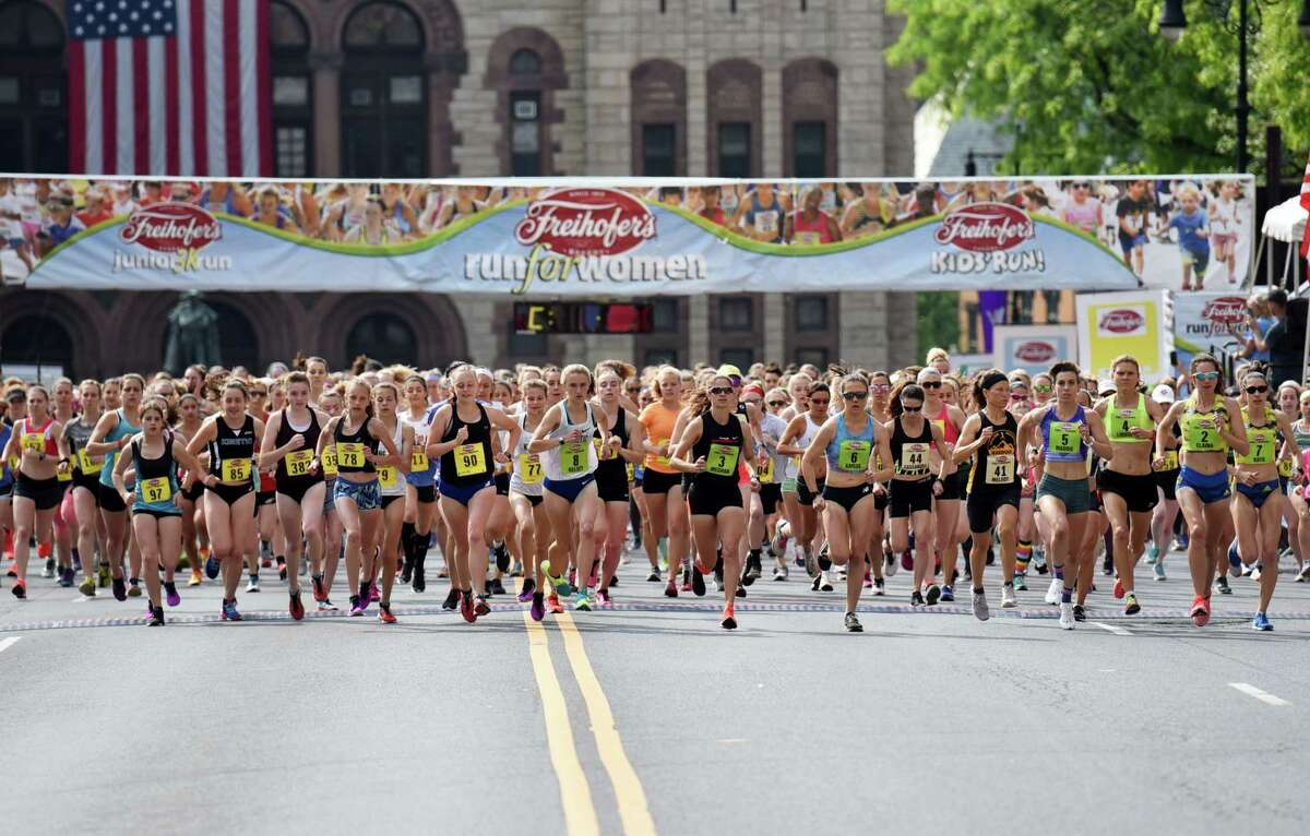 Runners takeoff for the start of the Freihofer's Run For Women on Saturday, June 1, 2019 in Albany, NY. (Phoebe Sheehan/Times Union)