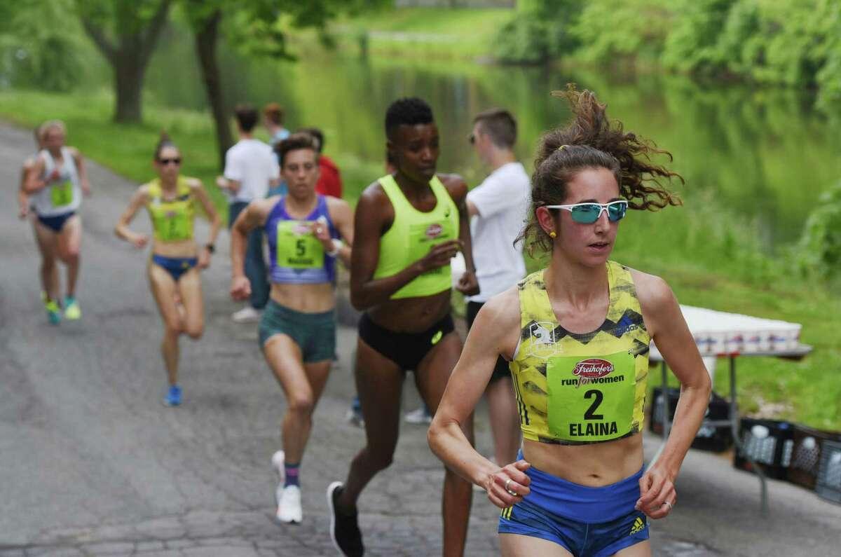 Elaina Tabb of Watertown, Mass., leads the runners through the start of Washington Park during the 2019 Freihofer's Run For Women.