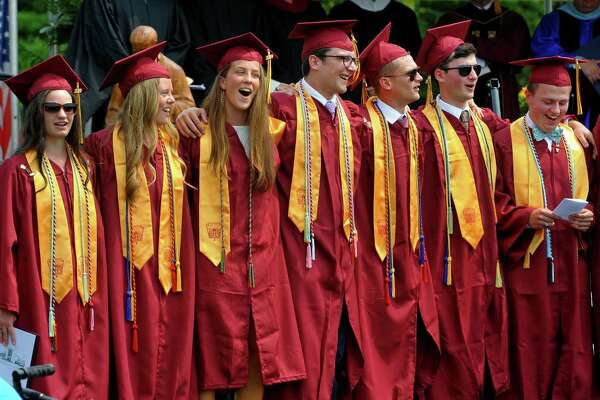 Members of the choir sing their alma mater during St. Joseph's Commencement Exercies in Trumbull, Conn., on Saturday June 1, 2019.
