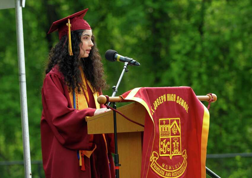 Graduate Anna Argulian gives the Valedictory Address during St. Joseph's Commencement Exercies in Trumbull, Conn., on Saturday June 1, 2019.