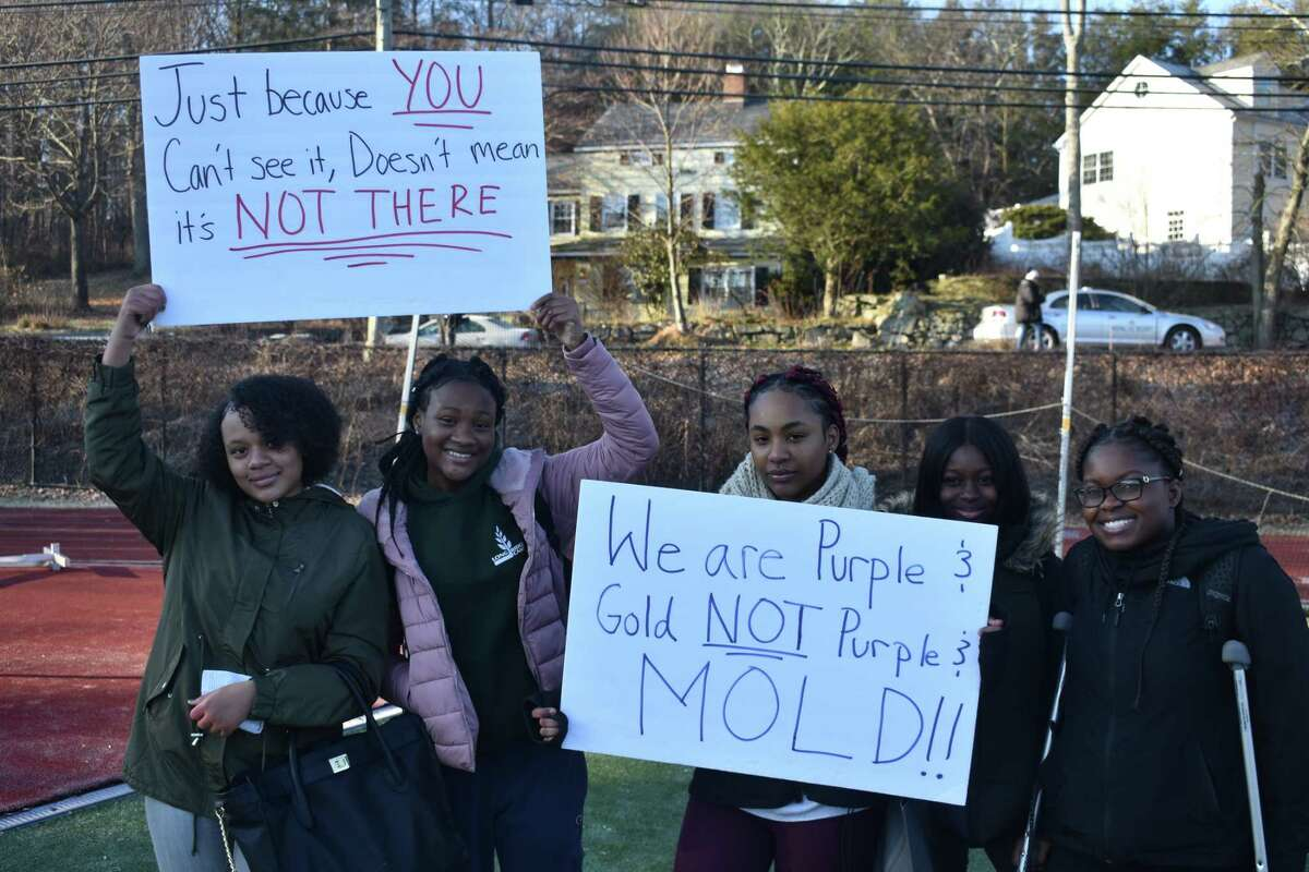 Students at Westhill High School in Stamford, Conn. staged a walkout on Dec. 10, 2018 to raise awareness about the effects the mold in their school has on their health.
