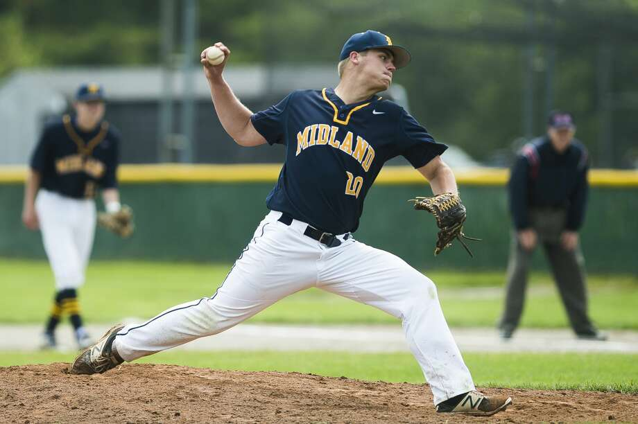 Midland's Jeff Landis pitches the ball during a game against Dow on Saturday, June 1, 2019 at H. H. Dow High School. (Katy Kildee/kkildee@mdn.net) Photo: (Katy Kildee/kkildee@mdn.net)