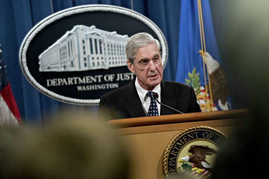"Robert Mueller, special counsel for the U.S. Department of Justice, speaks at the Department of Justice (DOJ) in Washington, D.C., U.S., on Wednesday, May 29, 2019. Mueller said he found ""insufficient evidence to charge a broader conspiracy"" involving the Trump campaign but didn't reach a conclusion on whether President Donald Trump obstructed justice. Photographer: Andrew Harrer/Bloomberg Photo: Andrew Harrer / © 2019 Bloomberg Finance LP"