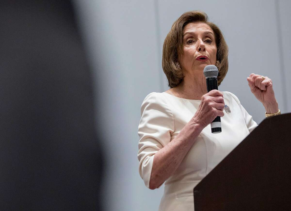 House Speaker Nancy Pelosi speaks to the crowd during the Women's Caucas at the California Democratic Convention held at Moscone North in San Francisco, Calif. Saturday, June 1, 2019.
