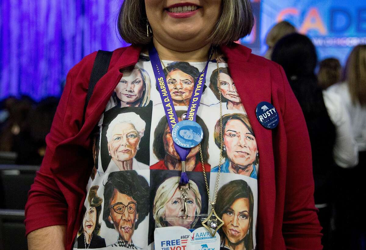 A woman sports a shirt dedicated to female politicians during the California Democratic Convention held at Moscone North in San Francisco, Calif. Saturday, June 1, 2019.