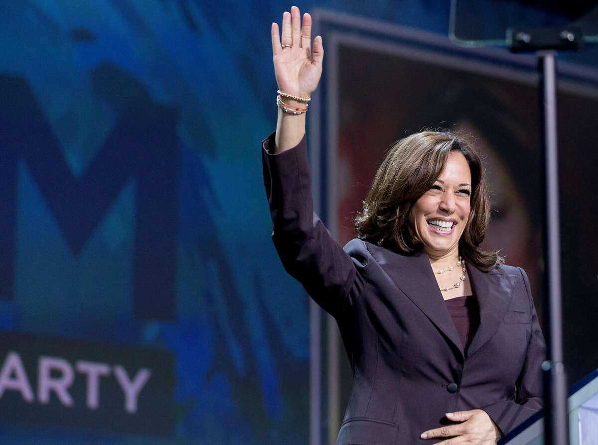 Democratic presidential candidate Senator Kamala Harris walks onto the stage during the general session of the California Democratic Convention held at Moscone North in San Francisco, Calif. Saturday, June 1, 2019.