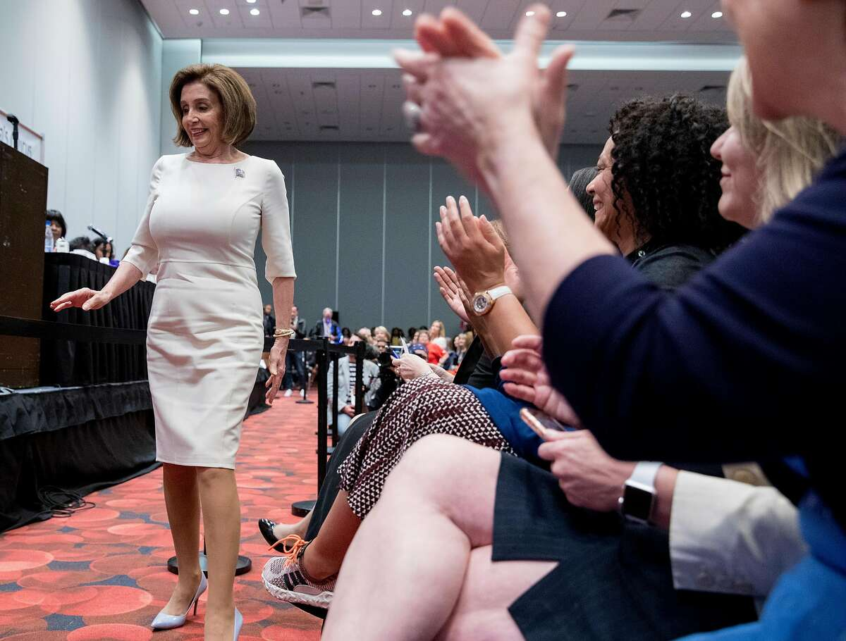 House Speaker Nancy Pelosi takes the stage during the Women's Caucus at the California Democratic Convention held at Moscone North in San Francisco, Calif. Saturday, June 1, 2019.