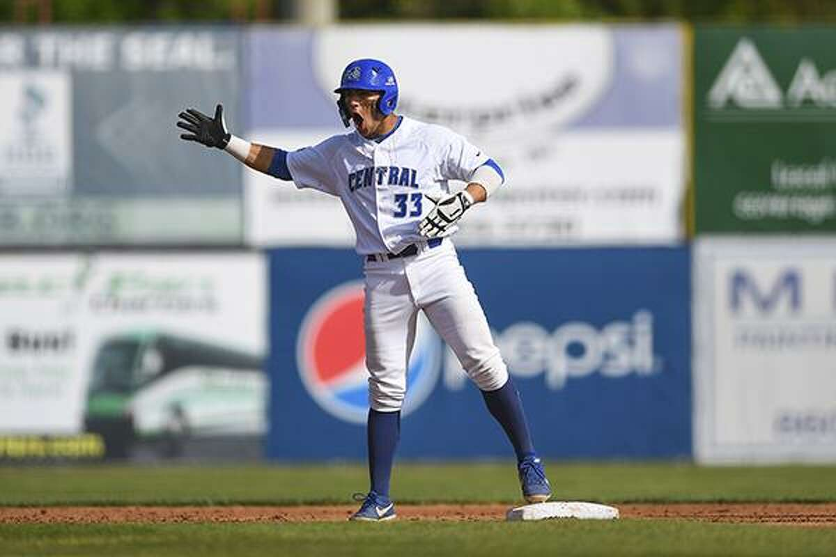 Central Connecticut's Dave Matthews hit a tiebreaking three-run homer in the fifth inning and the Blue Devils won their first NCAA Tournament game, beating California 7-4 in a regional elimination game Saturday.