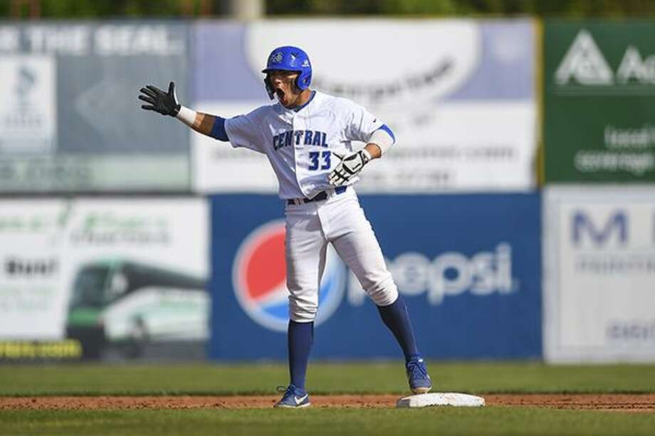 Central Connecticut's Dave Matthews hit a tiebreaking three-run homer in the fifth inning and the Blue Devils won their first NCAA Tournament game, beating California 7-4 in a regional elimination game Saturday. Photo: CCSU Athletics