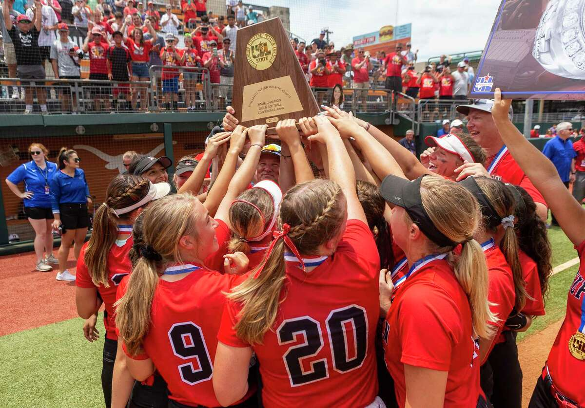 Huffman Hargrave celebrates after a 12-0 win in six innings over Anna during the UIL Class 4A state softball championship in Austin, Saturday, June 1, 2019.
