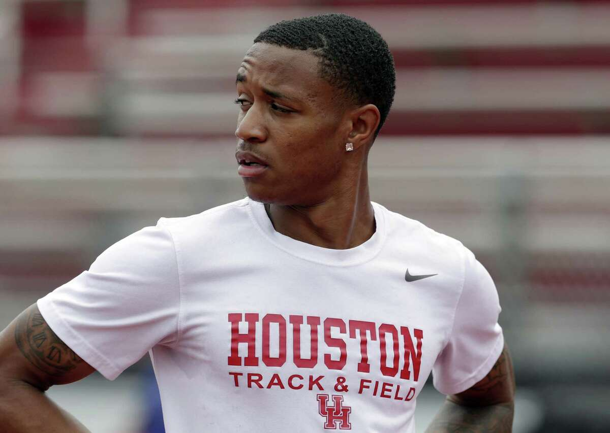 University of Houston 200 and 400 meter runner Kahmari Montgomery during work outs at practice Wednesday, May 29, 2019 at the Carl Lewis International Track and Field Complex in Houston, TX.