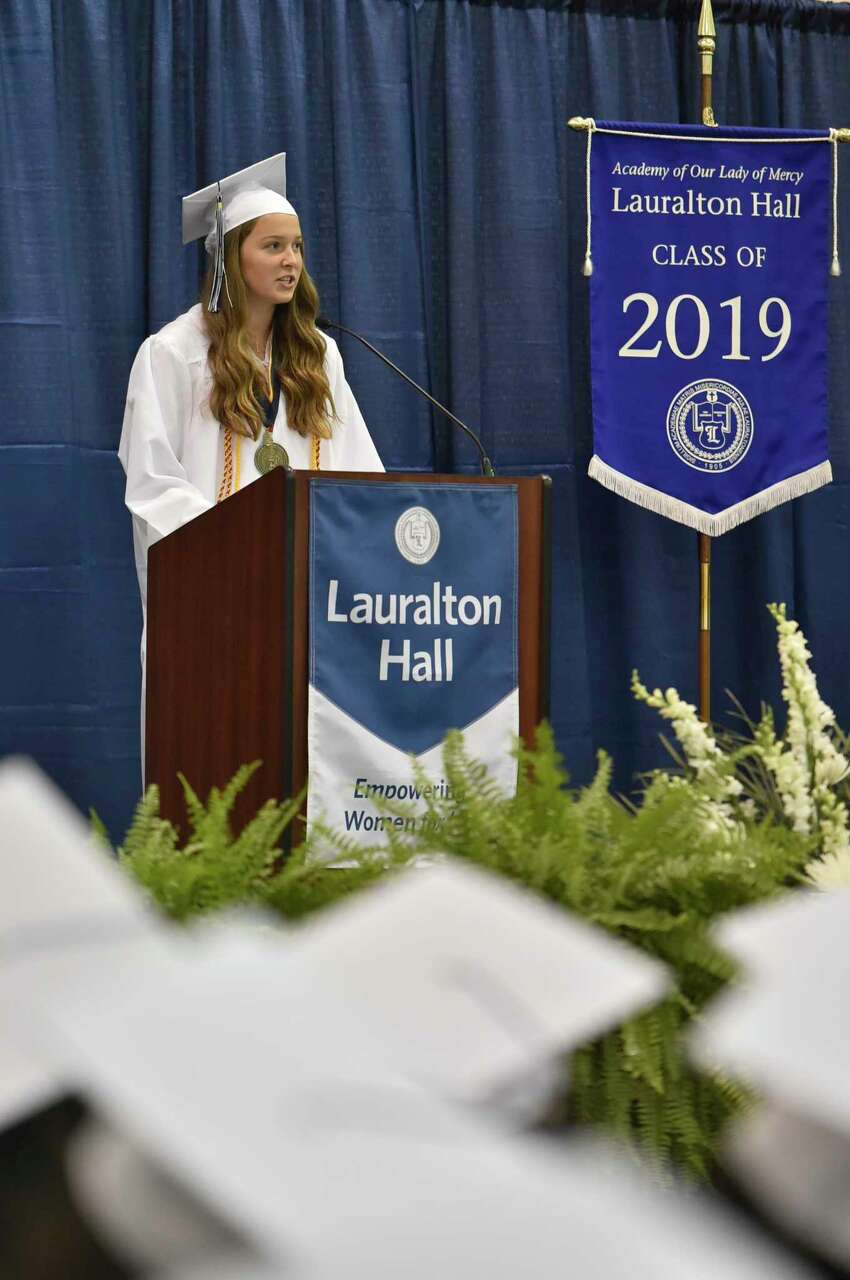 Milford, Connecticut - Saturday, June 1, 2019: 103 seniors from the Academy of Our Lady of Mercy Lauralton Hall Class of 2019 in Milfordgraduated Saturday morning at the school.