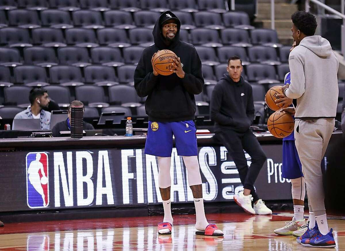 Golden State Warriors' Kevin Durant during NBA Finals' practice at ScotiaBank Arena in Toronto, Ontario, Canada, on Saturday, June 1, 2019.