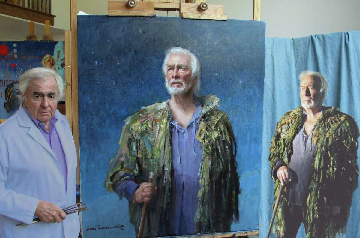 Everett Raymond Kinstler, with actor Christopher Plummer after painting Plummer's portrait.