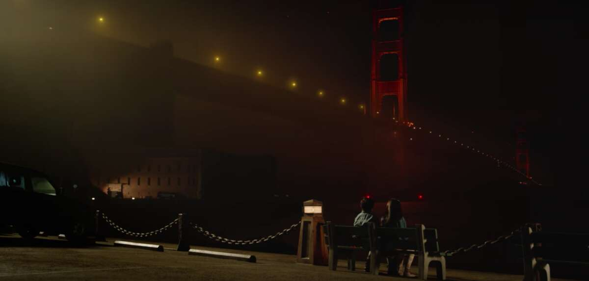 Their night out also takes them to this classic viewing area of the Golden Gate Bridge.