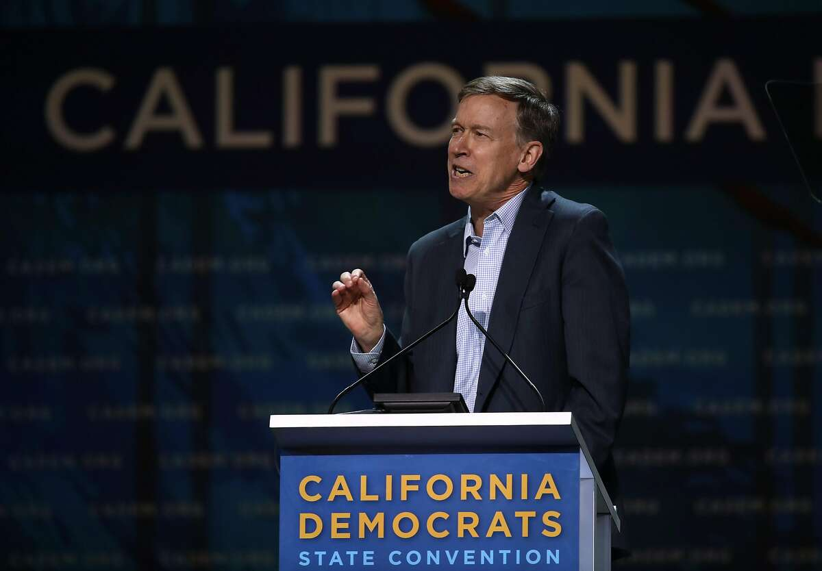 Democratic presidential candidate former Colorado Gov. John Hickenlooper speaks during the California Democrats 2019 State Convention at the Moscone Center on June 01, 2019 in San Francisco.