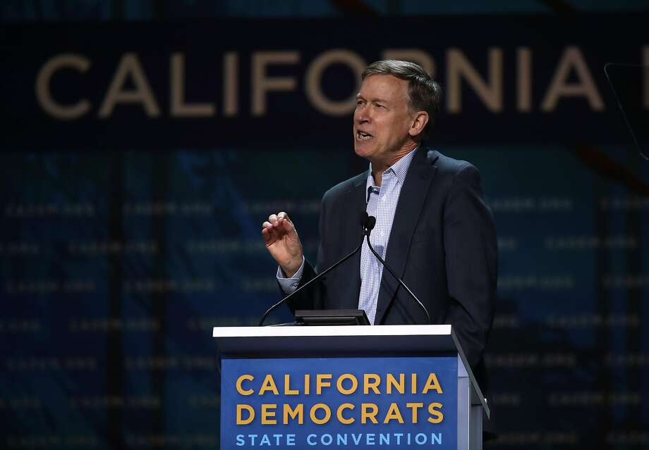 Democratic presidential candidate former Colorado Gov. John Hickenlooper speaks during the California Democrats 2019 State Convention at the Moscone Center on June 01, 2019 in San Francisco. Photo: Justin Sullivan / Getty Images