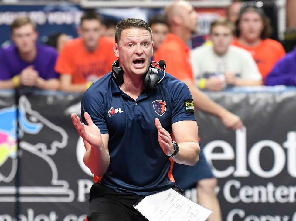 Albany Empire's head coach Rob Keefe reacts to a play while coaching against the Washington Valor during a arena football game Saturday, June 1, 2019, in Albany, N.Y. (Hans Pennink / Special to the Times Union)