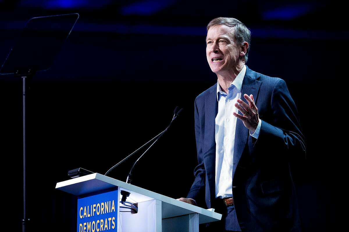 Democratic president candidate and former Colorado Gov. John Hickenlooper during the California Democratic Party Convention at the Moscone Convention Center on Saturday, June 1, 2019, in San Francisco, Calif.