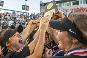 Katy celebrates a 8-2 win over Klein Collins during the UIL Class 6A state softball championship in Austin, Saturday, June 1, 2019. (Stephen Spillman / for Houston Chronicle)
