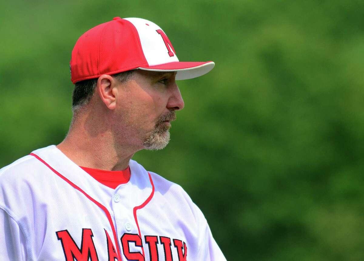 Masuk Head Coach: Ralph Franco during baseball action against East Lyme in Monroe, Conn., on Saturday June 1, 2019.