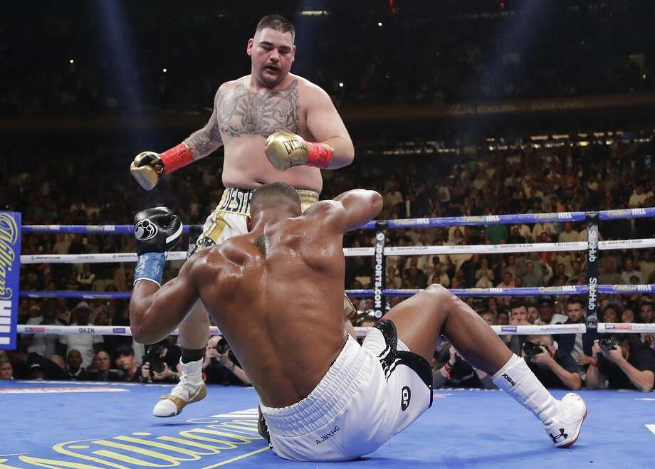 Andy Ruiz knocks down Anthony Joshua during the third round of their heavyweight bout at Madison Square Garden. Photo: Frank Franklin II / Associated Press