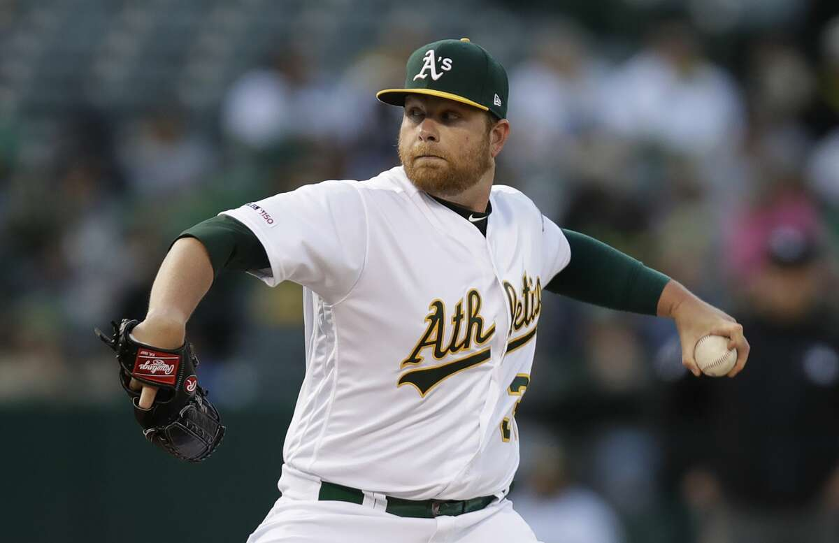 Oakland Athletics pitcher Brett Anderson works against the Houston Astros during the first inning of a baseball game Saturday, June 1, 2019, in Oakland, Calif. (AP Photo/Ben Margot)
