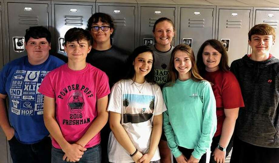 The Bluffs FFA chapter recently elected officers for 2019-20. They include Coby Zimmerman (front row, from left), sentinel; Kayde Gregory, secretary; Alexis Bruns, reporter; and Madison Hopkins, student adviser; Triston Preston (back row, from left), treasurer; Levi Haverfield, historian; Morgan Hoots, president; and Ethan Buhlig, vice president. Photo: Photo Provided