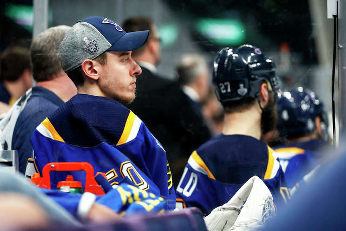 Blues goaltender Jordan Binnington sits on the bench during the third period of Game 3 of the Stanley Cup Final against the Boston Bruins on Saturday night in in St. Louis.
