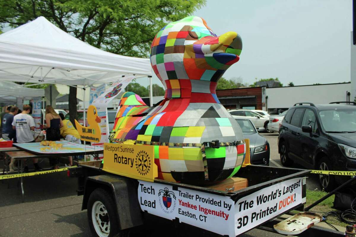 A 6-foot, 3D-printed duck made by the Westport Maker Faire was displayed at the annual Great Duck Race in Westport on June 1, 2019.