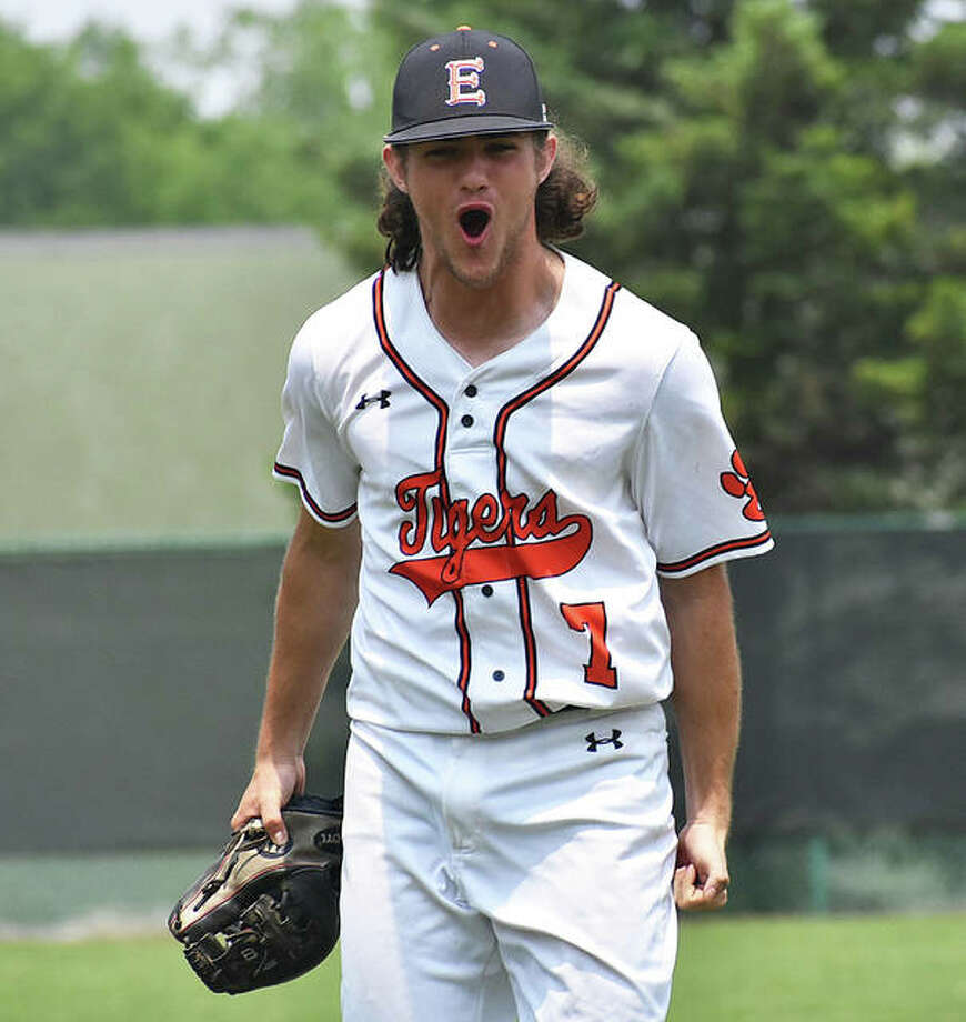 EHS relief pitcher Collin Salter celebrates after getting a double play to clinch the sectional championship game on Saturday against Normal West.