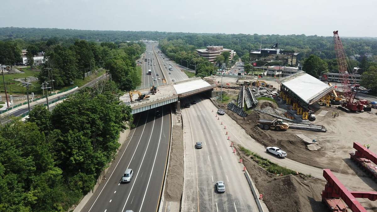 An overhead view of the construction of I-95 in Stamford on Saturday, June 1, 2019.