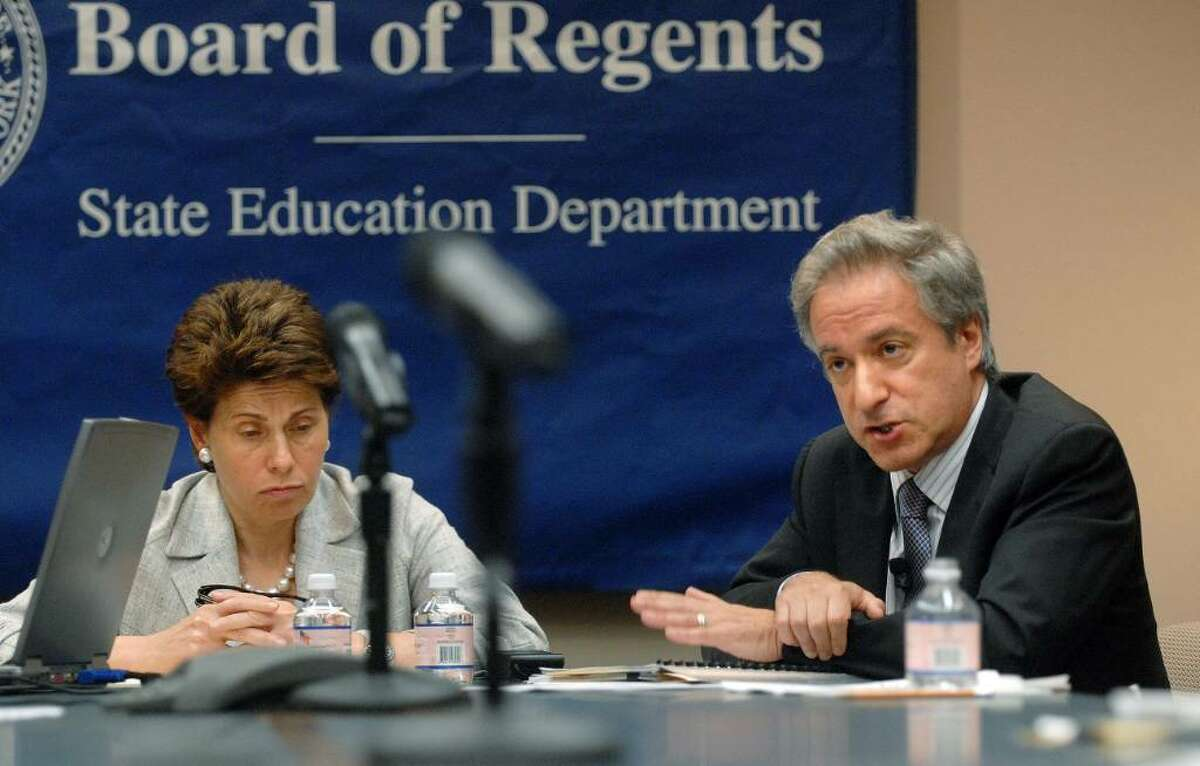 State Board of Regents Chancellor Merryl Tisch and state Education Commissioner David Steiner addresses those gathered during a news conference at the New York State Education building in Albany to discuss the results of third- through eighth-grade assessments in math and English. (Paul Buckowski / Times Union)