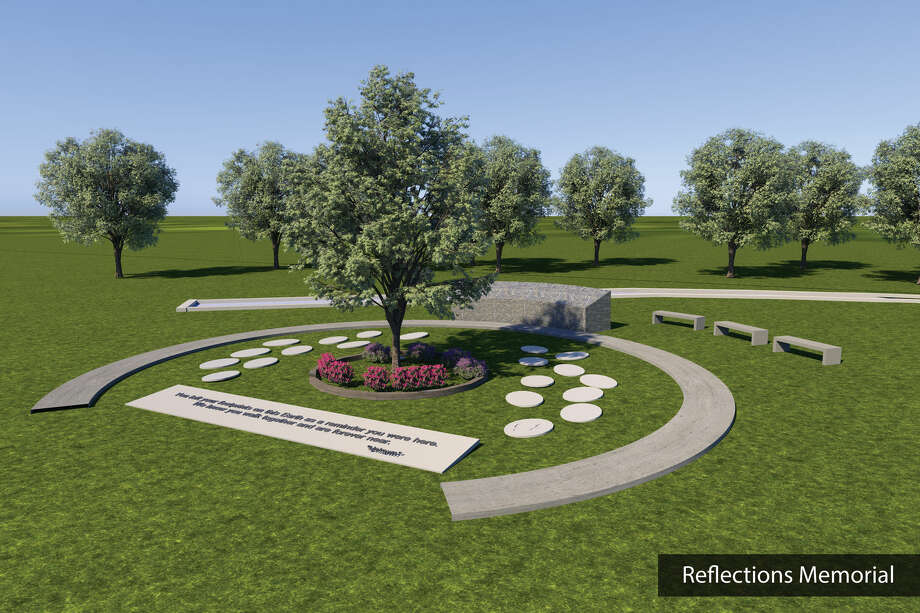 An artist rendering is pictured of a proposed memorial for the site of the Schoharie limo crash, in which 20 people died in 2018. The owners of the Apple Barrel Country Store, right next to the crash site, are donating the land and assisting in fundraising and designing the memorial. Photo: Reflections Memorial Foundation