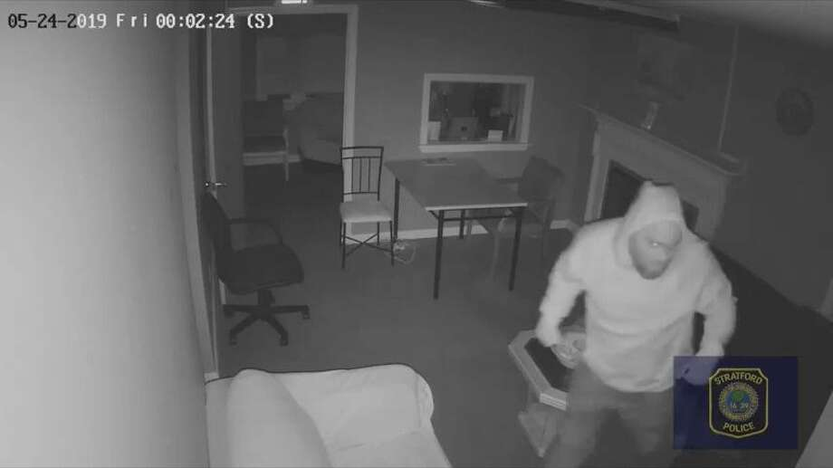 Stratford police released video footage of an alleged commercial burglary that took place May 24, 2019. Photo: Contributed / Stratford Police Department