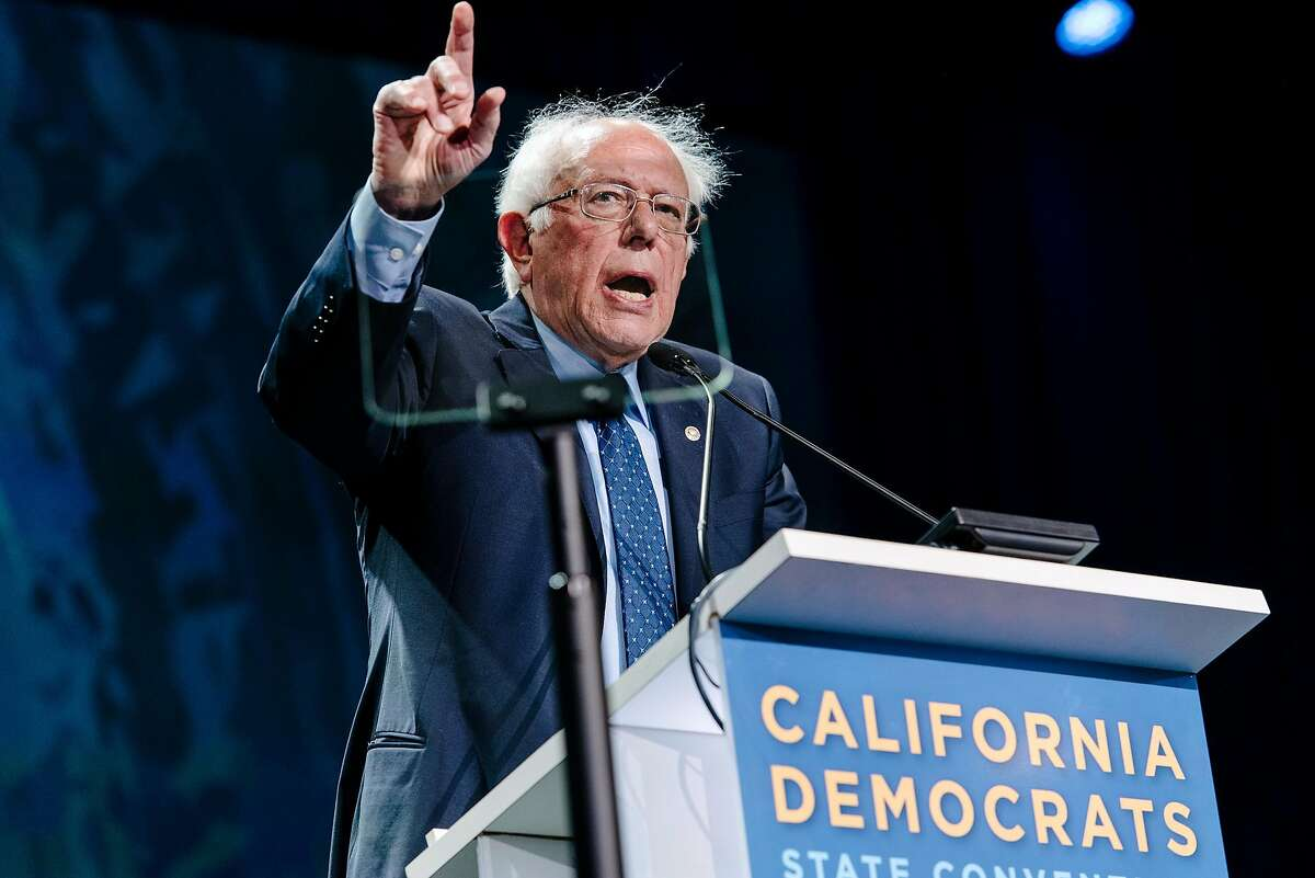 Senator Bernie Sanders speaks during the 2019 California Democratic Party convention held at the Moscone Center in San Francisco, Calif., on Sunday, June 2, 2019.