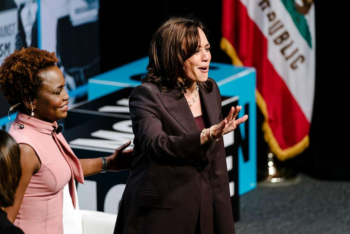 Senator Kamala Harris (D-CA) speaks during the MoveOn Big Ideas Forum conference held at the Warfield Theater in San Francisco, Calif., on Saturday, June 1, 2019.