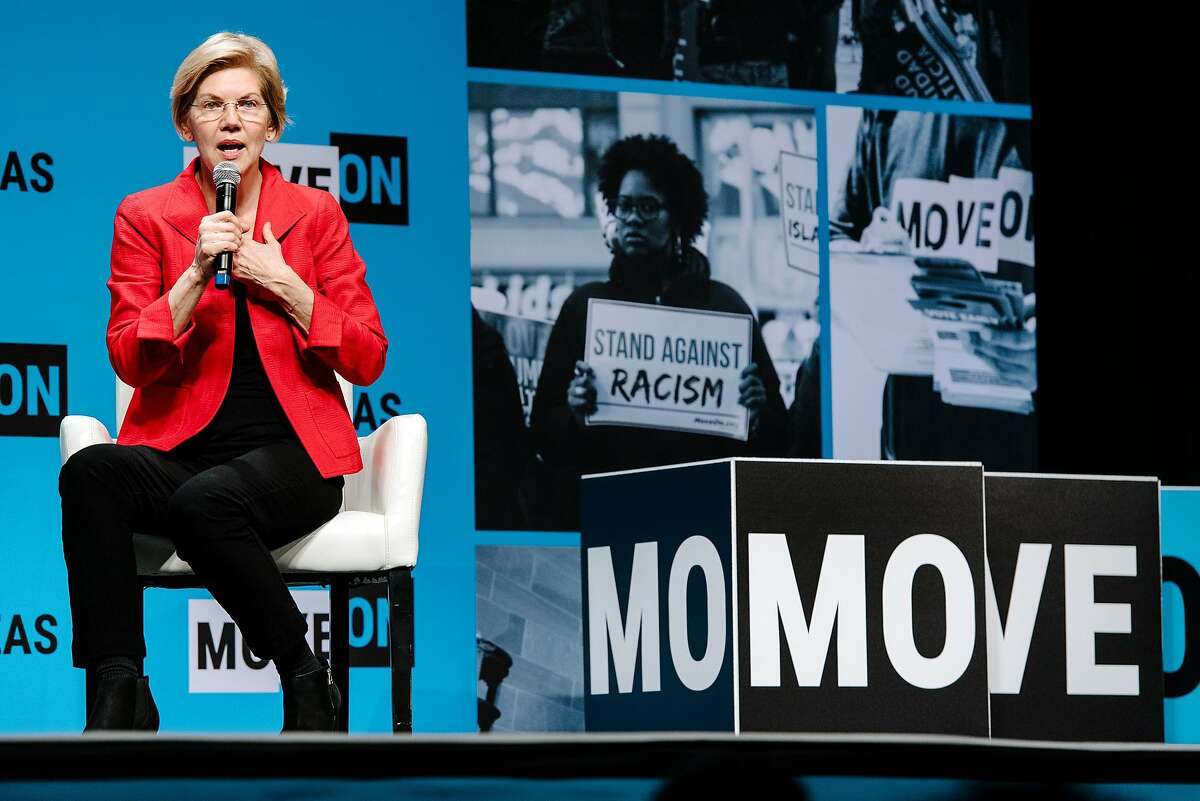 Senator Elizabeth Warren (D-MA) speaks during the MoveOn Big Ideas Forum conference held at the Warfield Theater in San Francisco, Calif., on Saturday, June 1, 2019.
