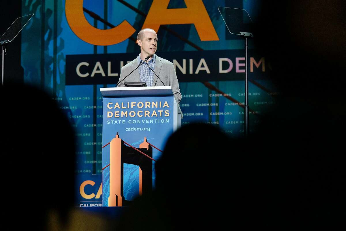Newly elected California Democratic Party Chair Rusty Hicks speaks during the 2019 California Democratic Party convention held at the Moscone Center in San Francisco, Calif., on Sunday, June 2, 2019.