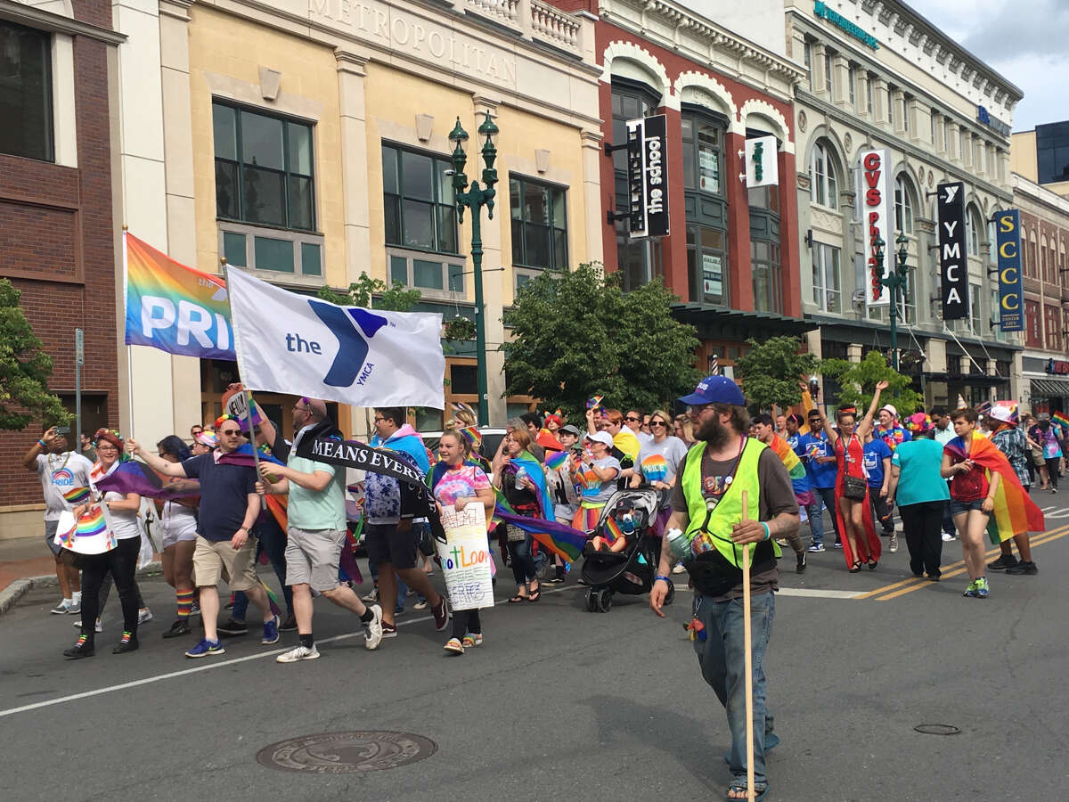 Marchers take part in the Pride Parade in Schenectady on Sunday, June 2, 2019.