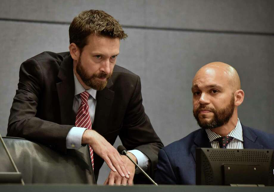 District of Columbia Councilman Charles Allen, left, and Councilman Robert White talk in 2018. Photo: Washington Post Photo By Bill O'Leary. / The Washington Post